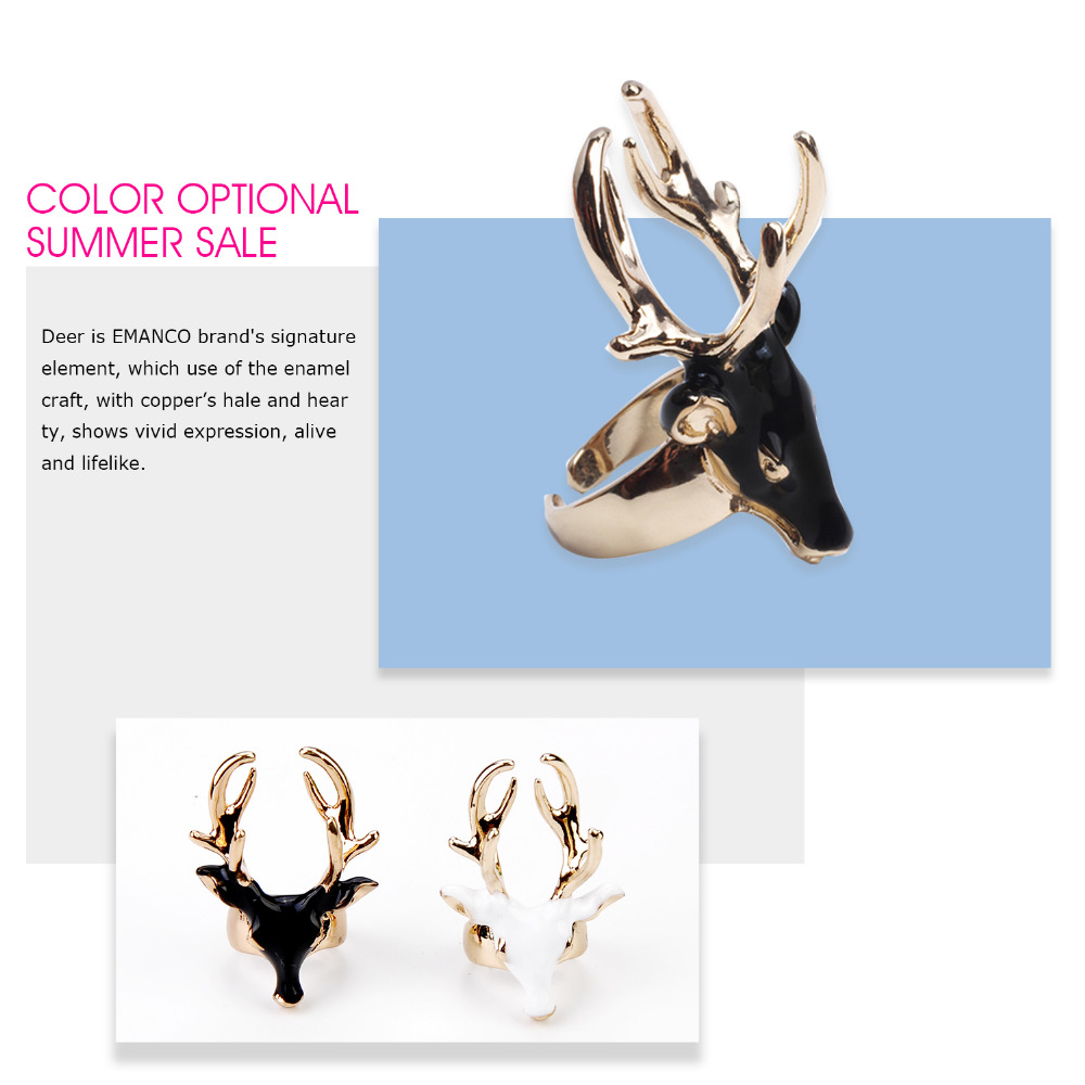 eManco mens rings black ladies enamel rings for women white color animals deer cuff rings jewellry Christmas gift