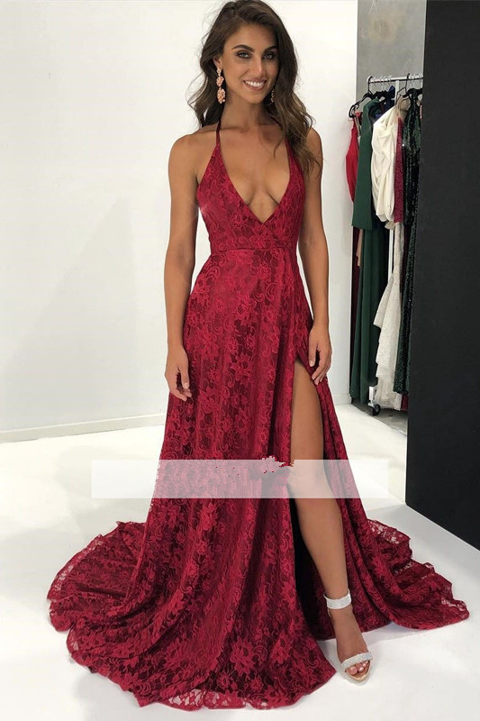 Burgundy 2019   Prom     Dresses   A-line Deep V-neck Lace Slit Sexy Party Maxys Long   Prom   Gown Evening   Dresses   Robe De Soiree