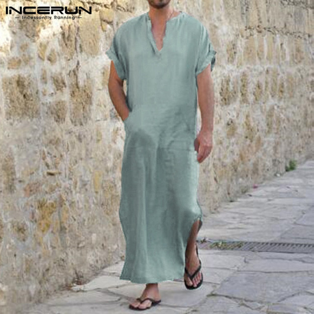 INCERUN 100%Cotton Arab Style Robe Dress Men Short Sleeve V-Neck Full Length  Shirts Lounge Male Gown Plus Size S-5XL Sleepwear 72506b1c5
