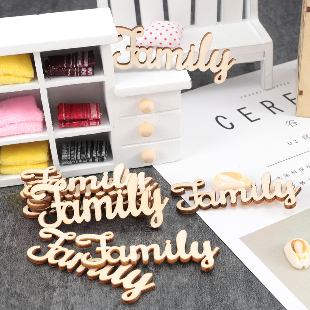 10Pcs Wood Pieces Family Letters Decoration Crafts DIY Wooden Embellishments