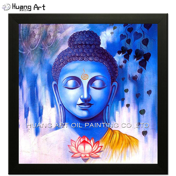 New Hand Painted Modern Blue Buddha and Lotus Oil Painting Wall Decor Religious Painting On Canvas For Room or Temple Love Decor