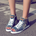 Cotton made shoes woman Casual hole denim high top shoes open toe shoe canvas shoes female retro finishing lacing female