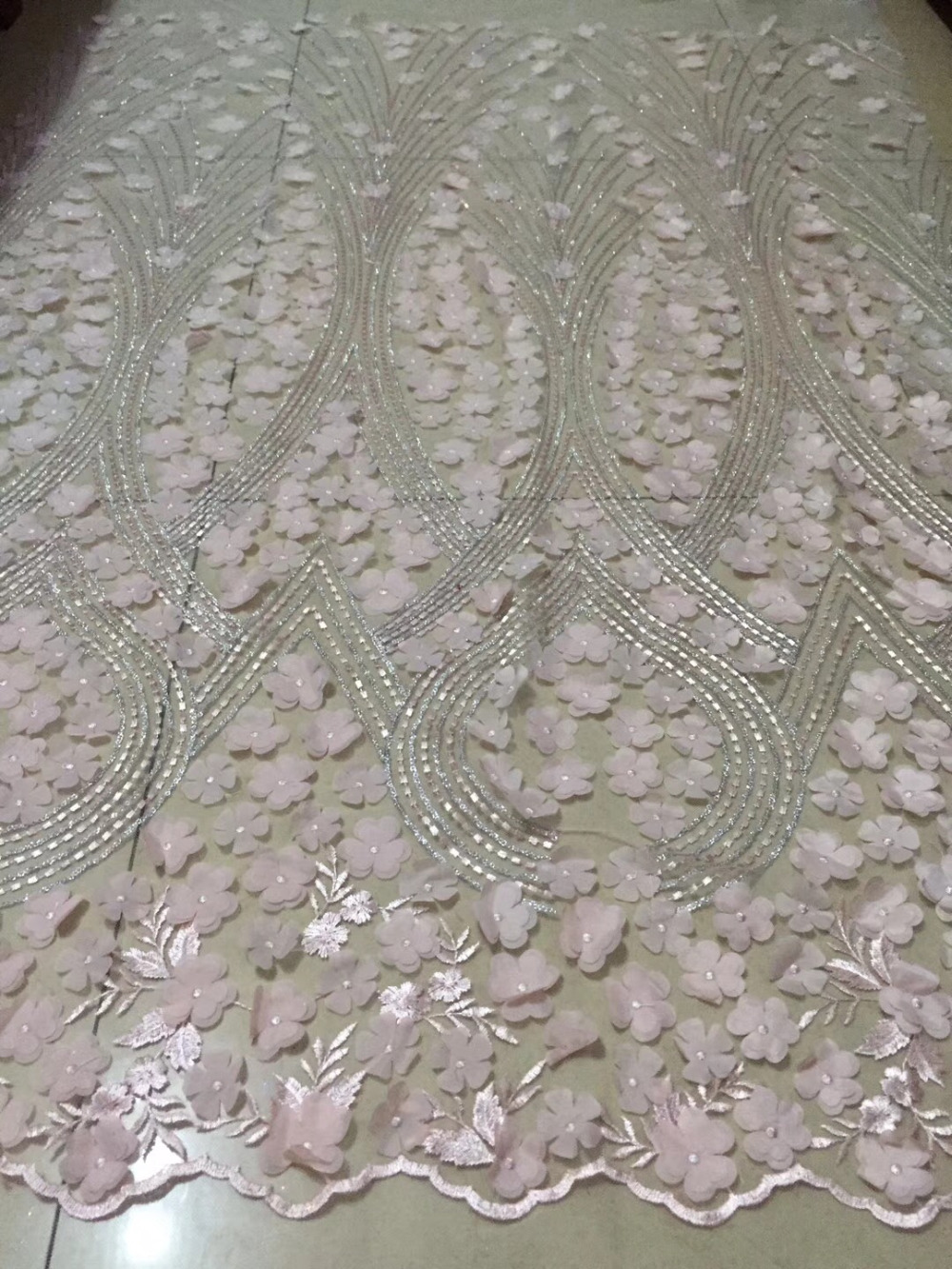 Forceful Novelty 3d French Lace With Handwork Multilayer Applique 5 Yards/lot 2018 Latest Design African Lace Fabric For Party Dress Cdf Lace Arts,crafts & Sewing