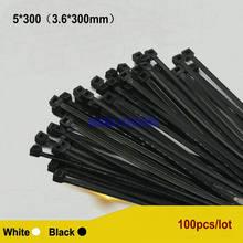 250 шт/лот 5*300 36*300 мм нейлоновый зажим для кабеля черно