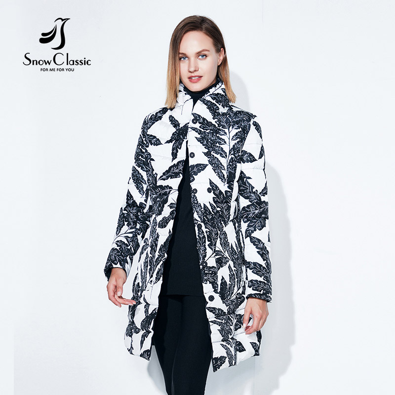 Autumn Jacket Womens Printed Widespread Double Long Windbreaker Thin Cotton Pattern Jacket Snow Classic 4