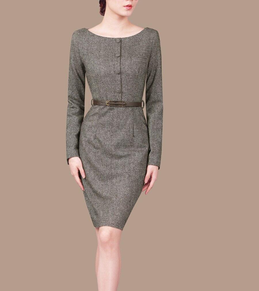 Woman Spring Ol Plus Size Soild Full Sleeve O neck Knee length Slim Wool Dresses Lady