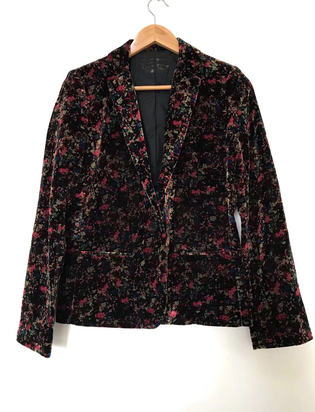 Fashion Autumn Multico Printing Floral V Neck Lady Jacket with One Button Women Coat Autumn Jacket