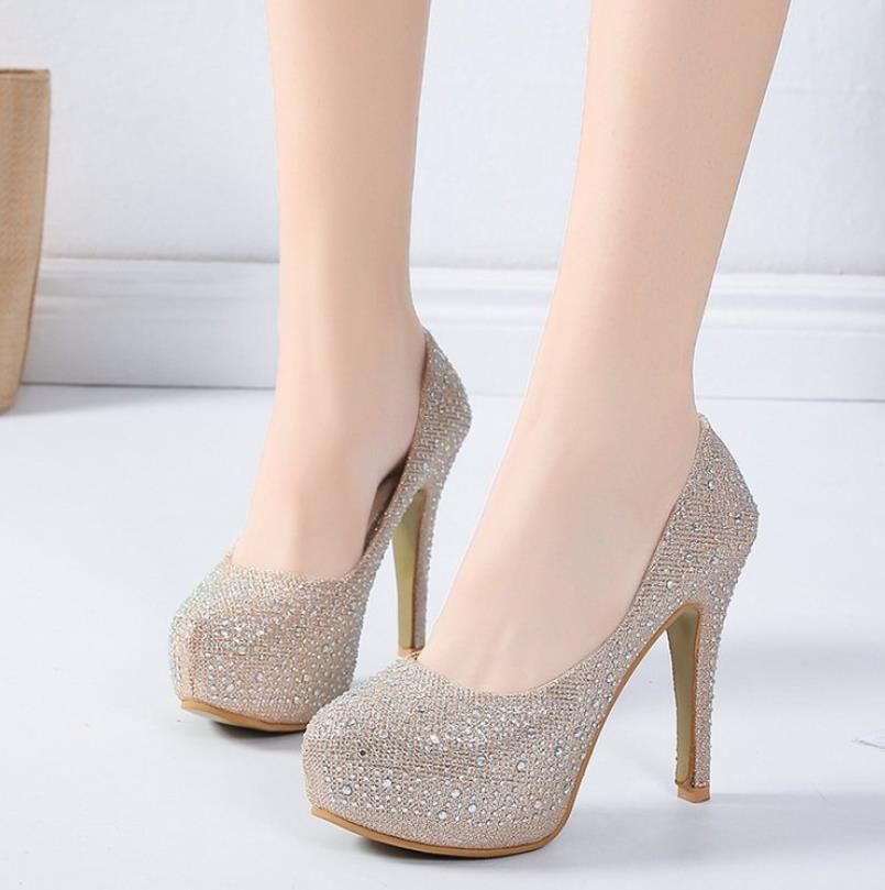 Novia Boda Hembra Cristal Zapatos Negro Gasa Plataforma Vestido plata Con  Blanco blanco Alto De Nuevo Aguja caqui Tacón Diamante q4FX6q 4ce475e7b33e