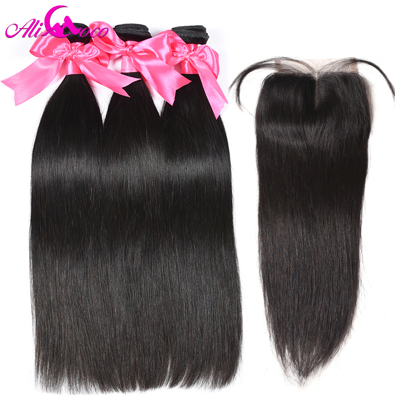 Ali Coco Malaysian Straight Hair Bundles With Lace Closure 4*4 Free/Middle/Three Part Human Hair 3 Bundles With Closure Non remy