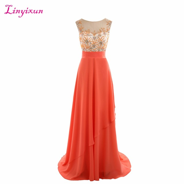Linyixun Real Photo New Arrival Long Prom Dress 2017 Coral Chiffon ...