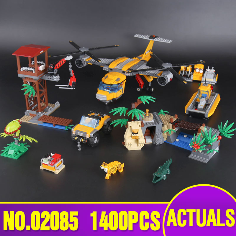 Lepin 02085 Genuine City Series The Jungle Air Drop Helicopter Set legoing 60162 Building Blocks Bricks Christmas New Year Gift the new jjrc1001 lepin city construction series building blocks diy christmas gift for kid legoe city winter christmas hut toy