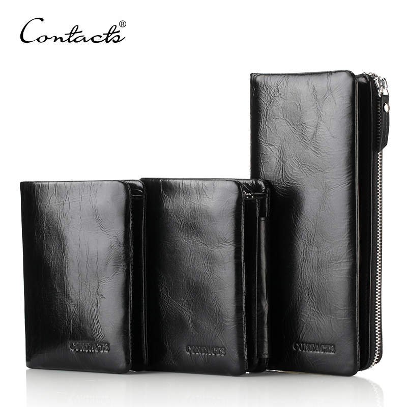 CONTACT'S Hot Sale Genuine Leather Men Clutch Wallets Card Case Mens Card Holders Purse 3 Style Wallet With Coin Pocket Black