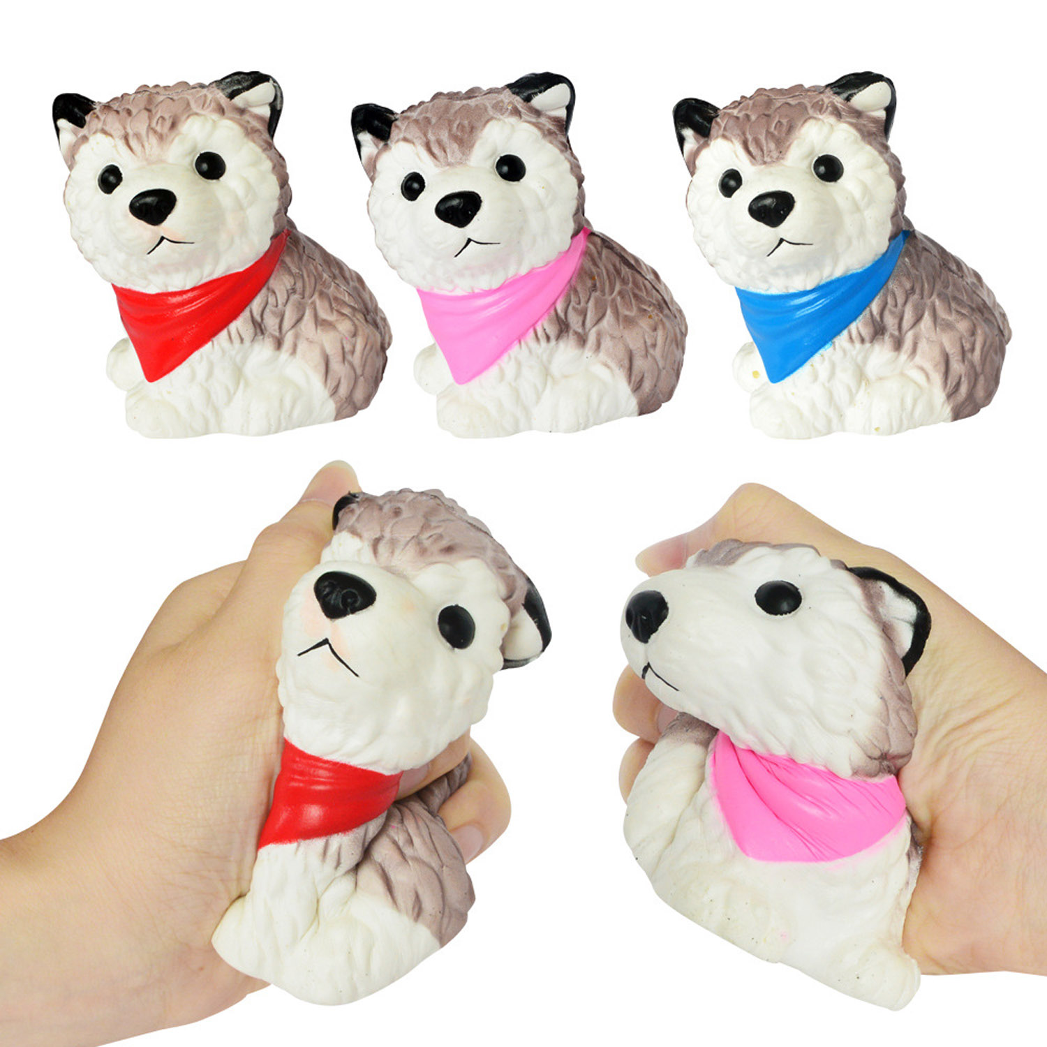 Besegad Slow Rising Squishy Puppy Dog Squeeze Husky Dog Jumbo Scented Decompression Cartoon Animals Relieves Stress Anxiety Toy
