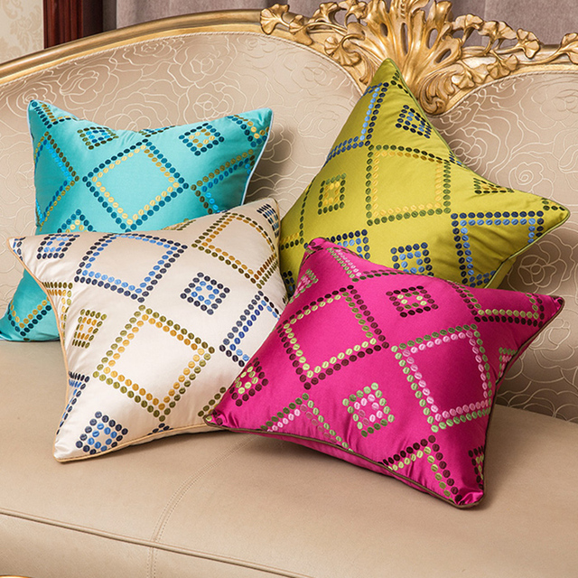 Chinese Continental Clical High End Embroidery Geometry Pillow Cover Linen Case Home Decorative Pillows