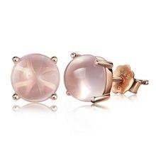 XIYANIKE de Plata de Ley 925 de cuatro garras Rosa pendientes de plata cristal para las mujeres pendientes de plata-joyería de Brincos VES6409