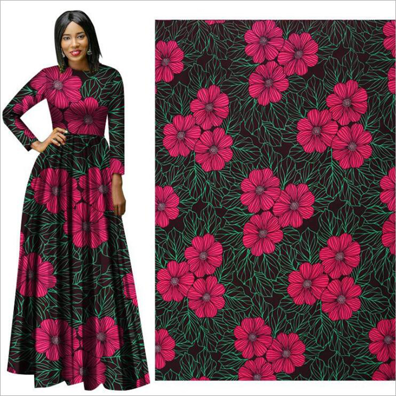 Me-dusa 2019 rose Red flower African Print Wax Fabric 100% Polyester Hollandais Wax DIY Dress Suit cloth 6yards/lot high quality(China)
