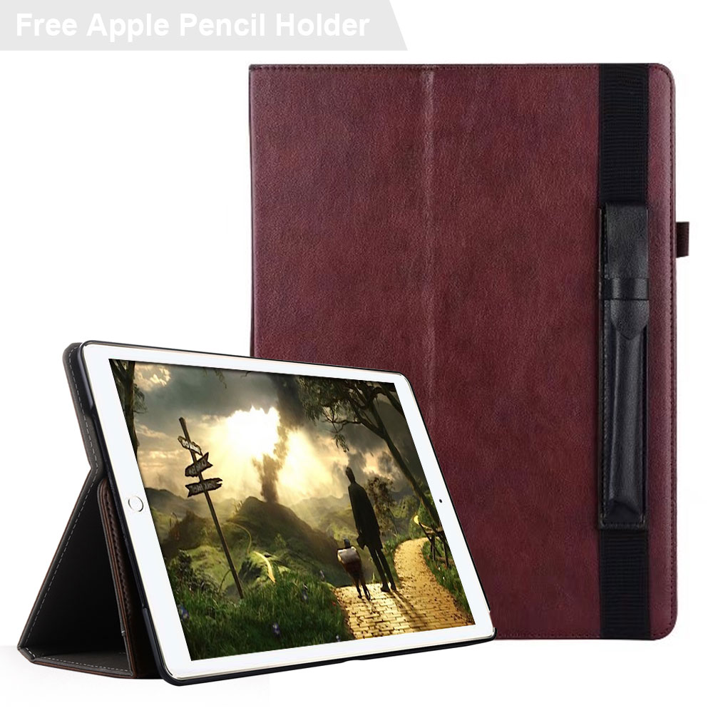 Hand Strap Briefcase Premium PU Leather Business Folio Stand Pocket Smart Cover Case for iPad Pro 10.5 with Apple Pencil Holder