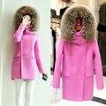 Cuello de piel genuina mapache 80 cm x 16 cm natural color para abajo y abrigo de lana súper ajuste grueso para capucha bufanda