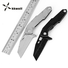 KKWOLF HighQuality CNC System Folding Knife D2 Steel Outdoor Tactical Survival Pocket Hunting Knife EDC Stone Wash Fighting Tool