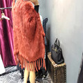 Venda especial Mulheres Reais Rabbit Fur Cachecóis Genuine Coelho Malha Poncho de pele Fácil Correspondência Envoltórios Macios Pele Real Senhora Agradável manto