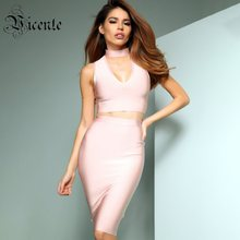 Clearance! VC 2019 Hot Two Pieces Sets Sexy V Neck Sleeveless About Knee Celebrity Party Bandage Skirt Suit(China)