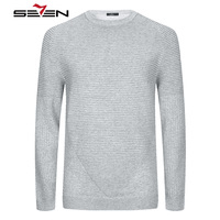 Seven7 High Quality 100 Cashmere Wool Knitwear Sweater Men Pleated O Neck Male Pullover Gray Silver