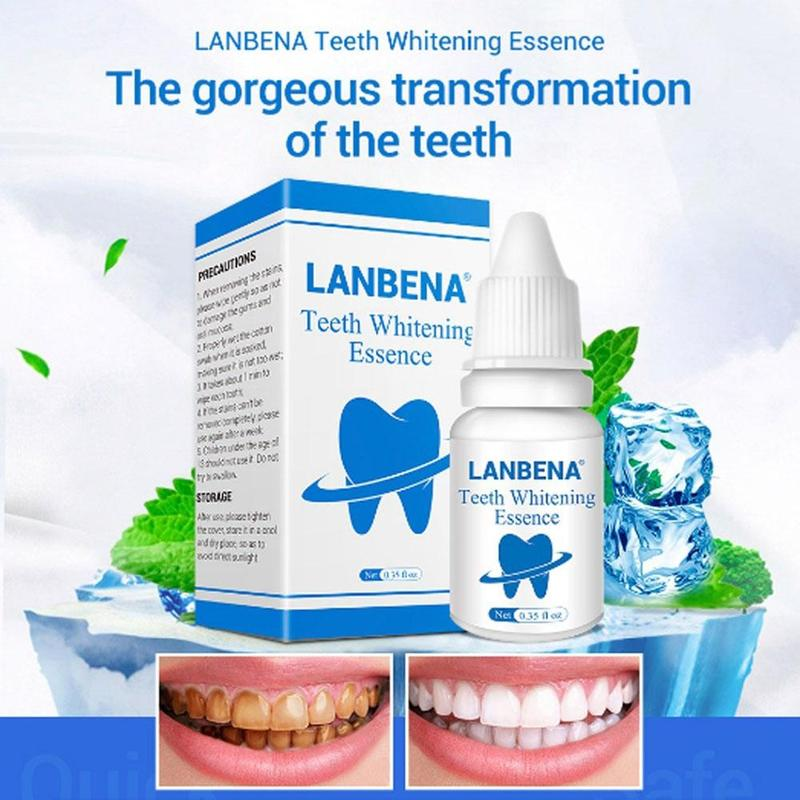 10ml LANBENA Teeth Whitening Essence Liquid Oral Hygiene Cleaning Serum Removes With 1 Pack Cotton Swab