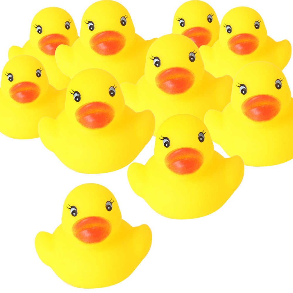 Set of 62 Yellow Ducks Rubber Bath Toy Shower Toys Pure Natural Cute Rubber Ducky for Baby Kinder Toys (A38118+60)
