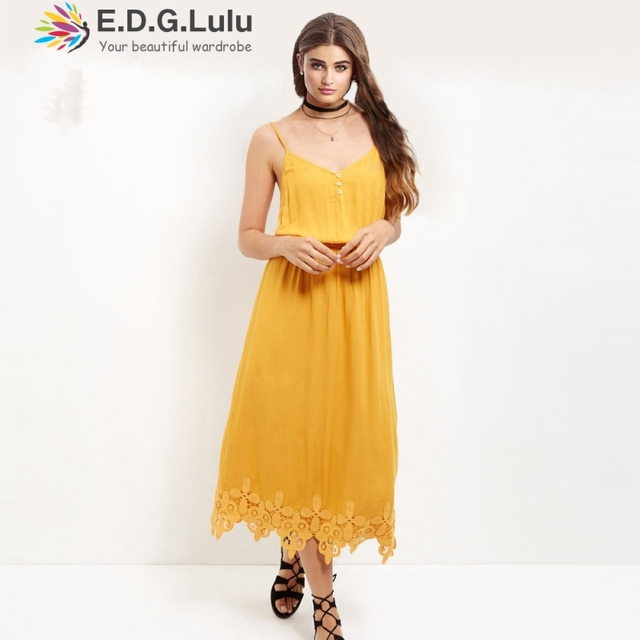 257f75fafbf2 maxi dress boho elegant bohemian sweet beach chic yellow sundress gatsby  knitted cotton lace halter tunic 2018 summer women