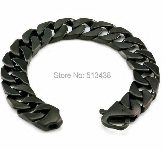 Heavy Black Stainless Steel Men S Brushed Cuban Curb Link Bracelet 15 5mm 8 66 For