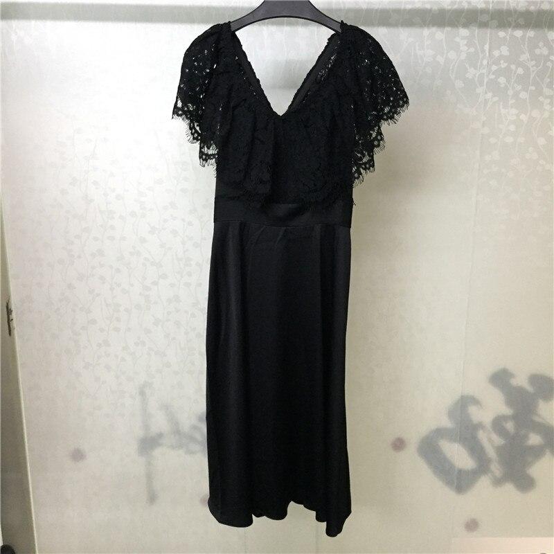 Office Haute Pour Genou Robes Femmes Qualité Automne V Lady Robe Mode longueur Col Sans Manches qYwRPP