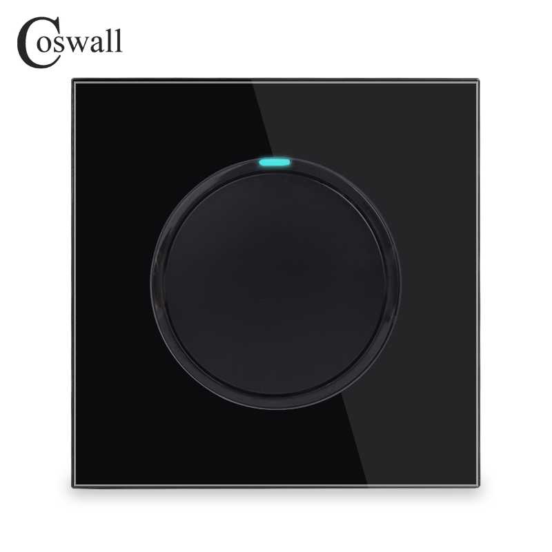 Coswall 1 Gang 1 Way Random Click On / Off Wall Light Switch With LED Indicator Knight Black Crystal Tempered Glass Panel
