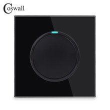 Coswall 1 Gang 1 Way Random Click On / Off Wall Light Switch With LED Indicator Knight Black Crystal Tempered Glass Panel()