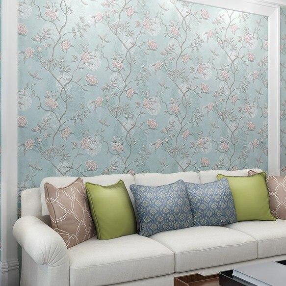 Купить с кэшбэком Ldyllic Fower Background Wallpaper Bedroom Living Room Decoration Non-woven Wall Paper Roll