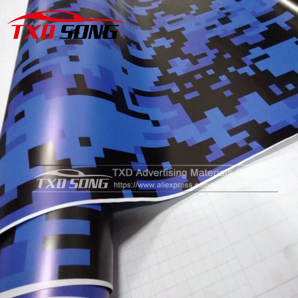 Темно синий цифровой военный камуфляж виниловой пленки воздушных пузырьков мотоциклетные стикер для автомобиля пиксельный Камуфляжный ви