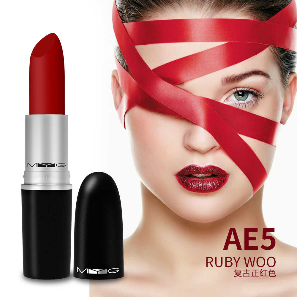 חדש מט שפתון באיכות גבוהה מתכת צינור bullet שפתון שפתון עמיד למים לאורך זמן אדום שפתון איפור השפתיים קוסמטיקה