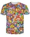Mujeres hombres 3d tops Original 150 Pokemon 8-Bit Collage de la camiseta 90 s juego de vídeo y el anime 3d impresión de la camiseta personajes de dibujos animados de tee