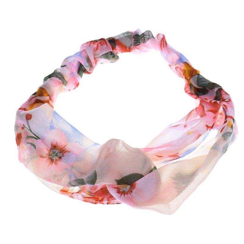 Stylish 2015 Summer Girl's 1PC Cross Flowers Printing Hair Band Hair Cap Headban