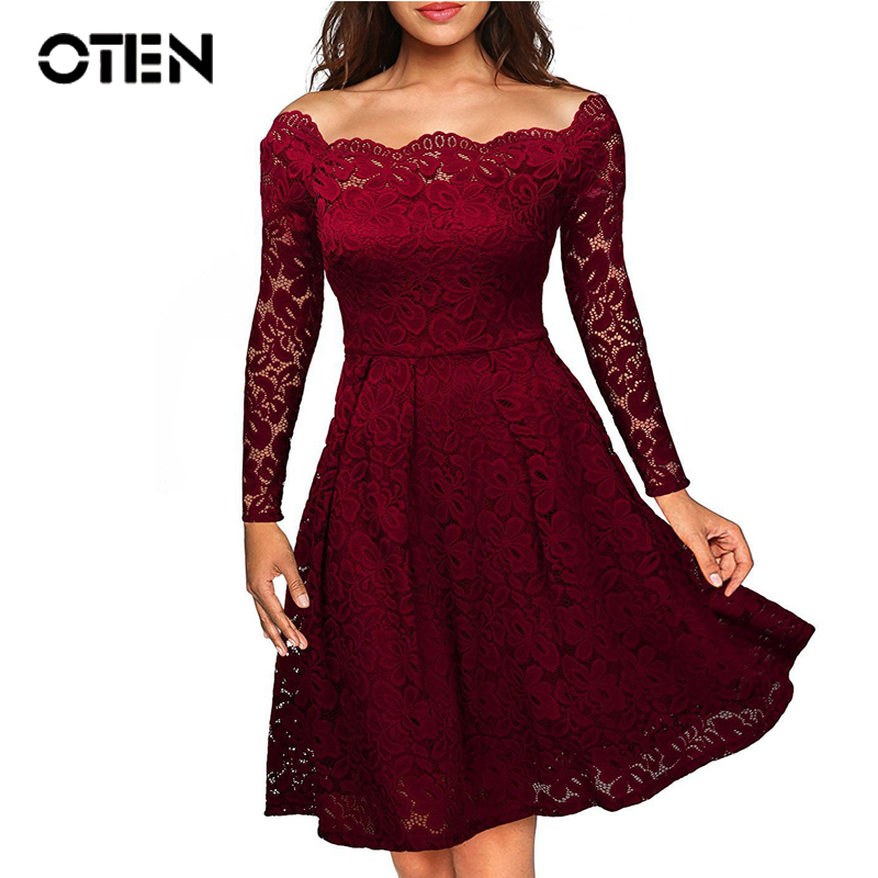 OTEN 2019 Women Vintage Long Sleeve Off Shoulder Lace Embroidery Patchwork Tunic Wedding Cocktail Party Elegant Ladies Dresses