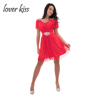 Lover Kiss Robe Demoiselle D Honneur Cheap Bead Red Short Bridesmaid Dresses For Beach Wedding Party