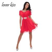 Lover Kiss Robe Demoiselle D Honneur Cheap Bead Red Short Bridesmaid Dresses For Beach Wedding Party