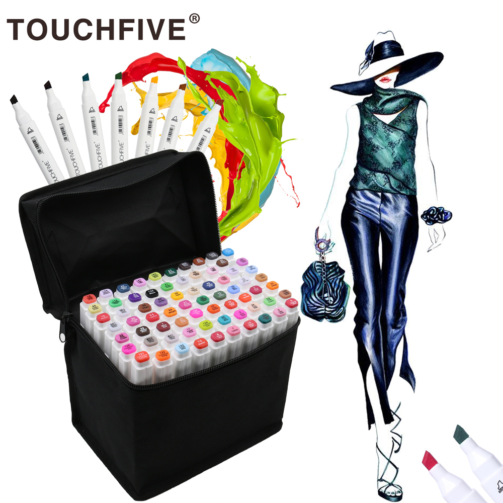 Touchfive 30/40/60/80/168Colors Pen Markers Set Dual Head Sketch Markers Pen For Drawing Manga Liner Markers Design Art Supplies dainayw 12 cool grey colors marker pen grayscale dual head art markers set for manga design drawing school student supplies