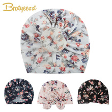 лучшая цена New Floral Baby Hat for Girls Cotton Baby Turban Beanie Hats Toddler Photography Props Newborn Beanie Cap Infant Accessories