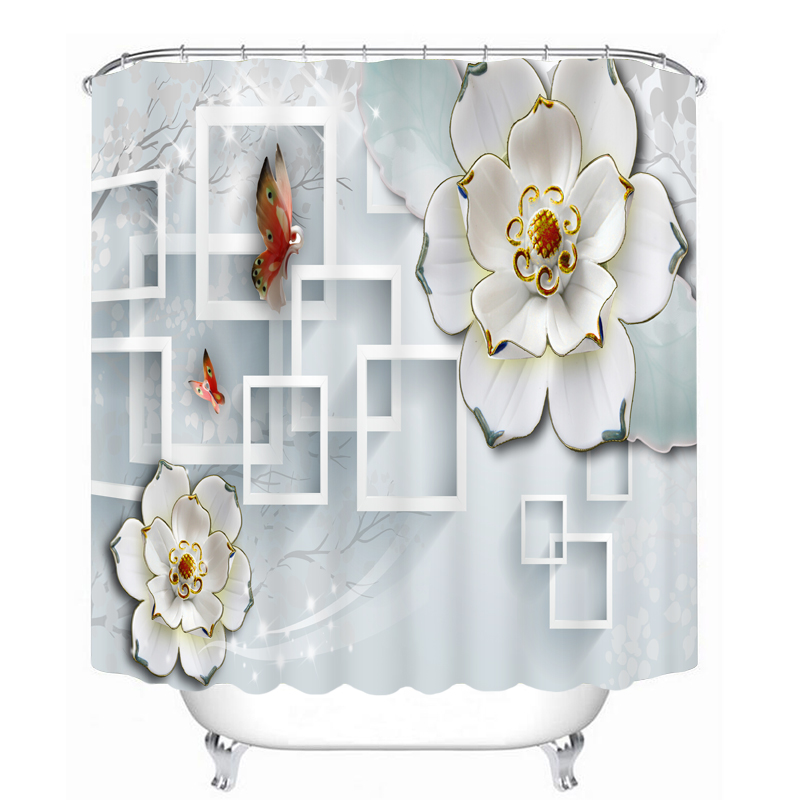 3D White Flower Butterfly Pattern Shower Curtains Bathroom Curtain Waterproof Thickened Bath Curtain Customizable