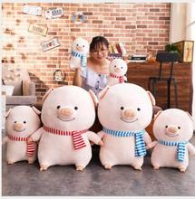 WYZHY  New Year Gift Pig Mascot Striped Scarf Doll Plush Toy Pillow to send friends and children 30cm