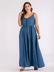 Europa lato duży rozmiar Sundress Denim Sukienka kobiety Sling duże wahadło Sukienka dla tłuszczu kobiet Casual długi Vestido Sukienka 4