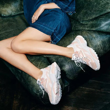 Genuine Leather Mesh Women's Platform Sneakers