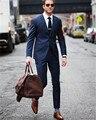 Azul marino Slim Fit Blazer Masculino Traje de Boda Del Novio Trajes de Hombre Por Encargo Traje Homme 2017 Esmoquin (chaqueta + pantalones)