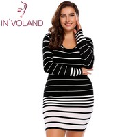 IN'VOLAND Big Size L-4XL Phụ Nữ Bút Chì Dress Autumn Casual Lớn Sọc Áo Len Bodycon Bandage Slim Váy Mini Thêm Kích Thước