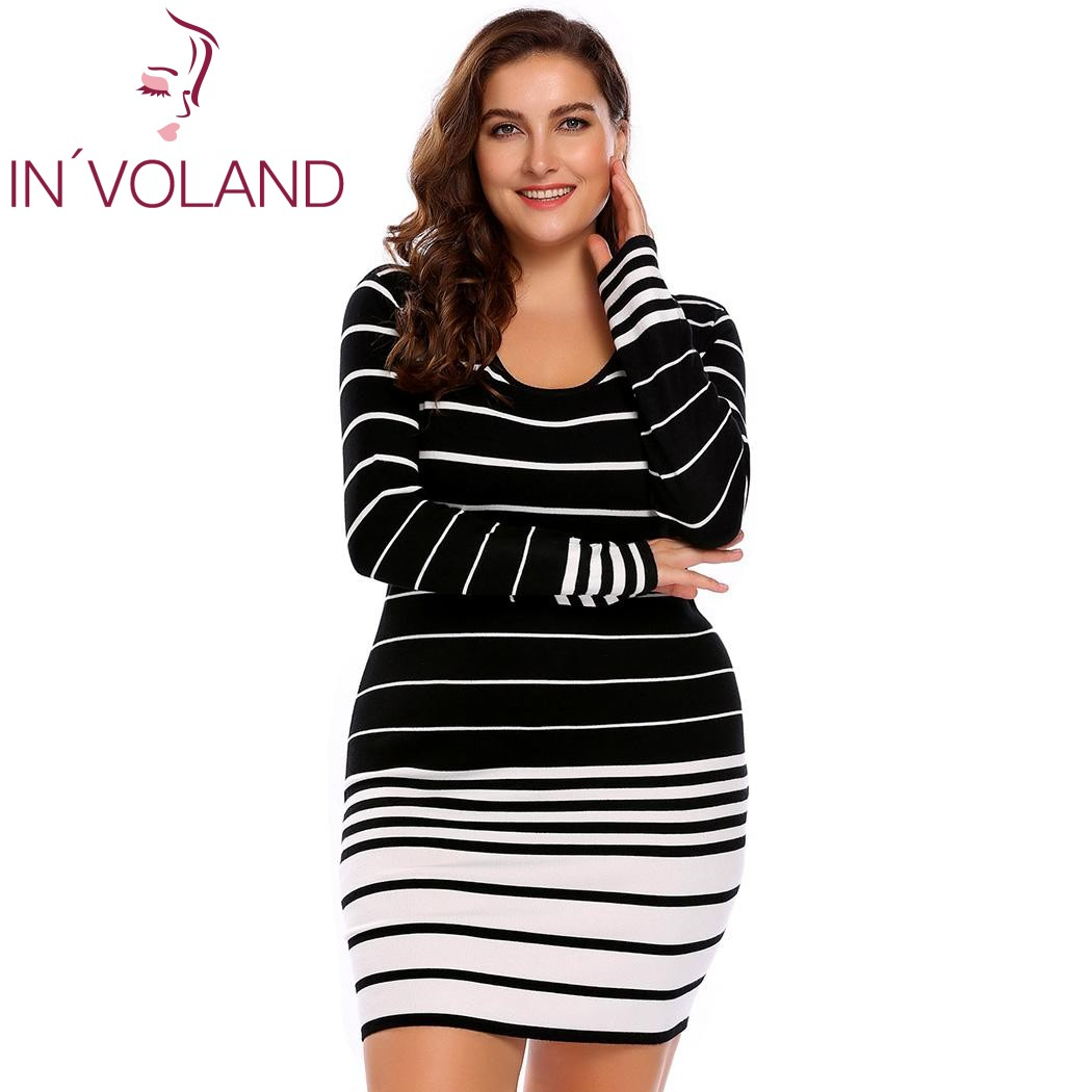 IN'VOLAND Big Size L 4XL Women Pencil Dress Autumn Casual Large Striped Sweater Bodycon Bandage Slim Mini Dresses Plus Size